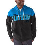 Carolina Panthers G-III Sports by Carl Banks First Down Polar Fleece Full-Zip Hoodie - Black