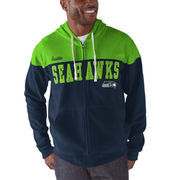 Seattle Seahawks G-III Sports by Carl Banks First Down Polar Fleece Full-Zip Hoodie - College Navy