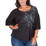 Texas Longhorns Women's Plus Size Chrissy Flowy Dolman T-Shirt - Black