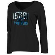 Carolina Panthers NFL Pro Line Women's Team Chant Long Sleeve V-Neck T-Shirt - Black