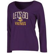 Minnesota Vikings NFL Pro Line Women's Team Chant Long Sleeve V-Neck T-Shirt - Purple