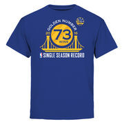 Golden State Warriors Youth Record Breaking Season Exclusive Golden Number T-Shirt - Royal