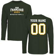 San Francisco Dons Personalized Basketball Long Sleeve T-Shirt - Green