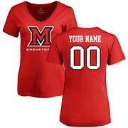Miami University RedHawks Women's Personalized Basketball T-Shirt - Red