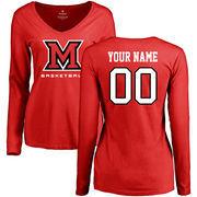 Miami University RedHawks Women's Personalized Basketball Long Sleeve T-Shirt - Red