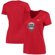Team USA Brand Women's Basketball Performance V-Neck T-Shirt - Red