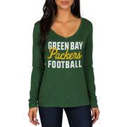Green Bay Packers Women's Blitz 2 Hit Long Sleeve V-Neck T-Shirt - Green