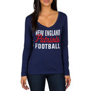 New England Patriots Women's Blitz 2 Hit Long Sleeve V-Neck T-Shirt - Navy