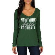 New York Jets Women's Blitz 2 Hit Long Sleeve V-Neck T-Shirt - Green