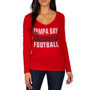Tampa Bay Buccaneers Women's Blitz 2 Hit Long Sleeve V-Neck T-Shirt - Red