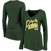 Green Bay Packers Women's Scrimmage 1-Hit V-Neck T-Shirt - Green