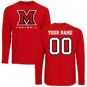 Miami University RedHawks Personalized Football Long Sleeve T-Shirt - Red