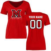 Miami University RedHawks Women's Personalized Football T-Shirt - Red
