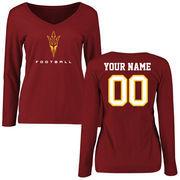 Arizona State Sun Devils Women's Personalized Football Long Sleeve T-Shirt - Maroon