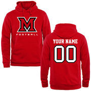 Miami University RedHawks Personalized Football Pullover Hoodie - Red