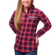 New England Patriots Klew Women's Wordmark Flannel Button-Up Long Sleeve Shirt - Navy