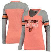 Baltimore Orioles 5th & Ocean by New Era Women's Tri-Blend V-Neck Long Sleeve T-Shirt - Orange/Gray