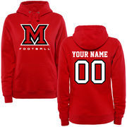 Miami University RedHawks Women's Personalized Football Pullover Hoodie - Red