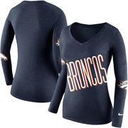 Denver Broncos Nike Women's Champ Drive 2 Long Sleeve T-Shirt - Navy