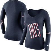 New England Patriots Nike Women's Champ Drive 2 Long Sleeve T-Shirt - Navy