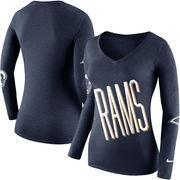 Los Angeles Rams Nike Women's Champ Drive 2 Long Sleeve T-Shirt - Navy