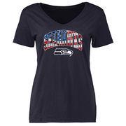Seattle Seahawks NFL Pro Line Women's Banner Wave V-Neck T-Shirt - Navy
