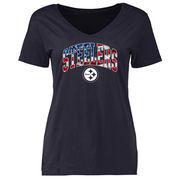Pittsburgh Steelers NFL Pro Line Women's Banner Wave V-Neck T-Shirt - Navy