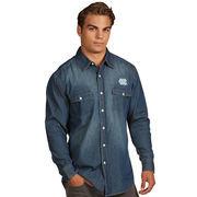 North Carolina Tar Heels Antigua Dark Chambray Long Sleeve Button-Up Shirt - Blue
