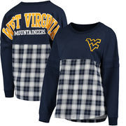 West Virginia Mountaineers Women's Split Plaid Pom Pom Long Sleeve T-Shirt - Navy
