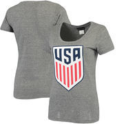 US National Team 5th & Ocean by New Era Women's Tri-Natural Scoop Neck T-Shirt - Gray