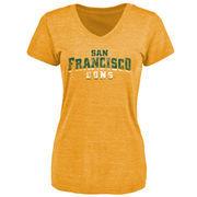 San Francisco Dons Women's Classic Wordmark Tri-Blend V-Neck T-Shirt - Gold