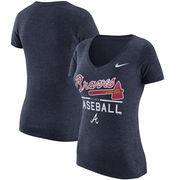 Atlanta Braves Nike Women's Practice 1.7 Tri-Blend V-Neck T-Shirt - Heathered Navy