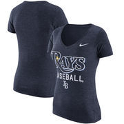 Tampa Bay Rays Nike Women's Practice 1.7 Tri-Blend V-Neck T-Shirt - Heathered Navy
