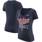 Minnesota Twins Nike Women's Practice 1.7 Tri-Blend V-Neck T-Shirt - Heathered Navy
