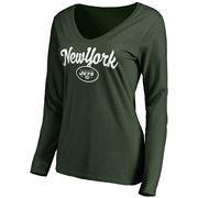 New York Jets NFL Pro Line Women's Freehand V-Neck Long Sleeve T-Shirt - Green