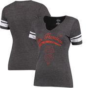 San Francisco Giants Majestic Women's Spirit Awareness V-Neck T-Shirt - Charcoal