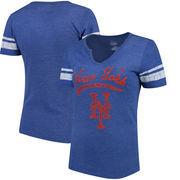 New York Mets Majestic Women's Spirit Awareness V-Neck T-Shirt - Heather Royal