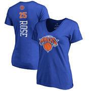 Derrick Rose New York Knicks Women's Backer 3 Classic Fit Name & Number V-Neck T-Shirt - Royal
