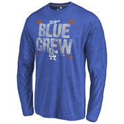 Los Angeles Dodgers Hometown Collection Blue Crew Long Sleeve Tri-Blend T-Shirt - Royal