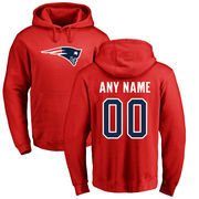 New England Patriots NFL Pro Line Personalized Name & Number Logo Pullover Hoodie - Red