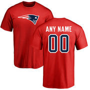 New England Patriots NFL Pro Line Personalized Name & Number Logo T-Shirt - Red