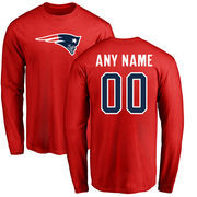 New England Patriots NFL Pro Line Personalized Name & Number Logo Long Sleeve T-Shirt - Red