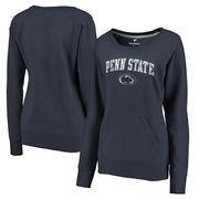 Penn State Nittany Lions Fanatics Branded Women's Distressed Arch Over Logo Tri-Blend Crewneck Sweatshirt - Heather Navy