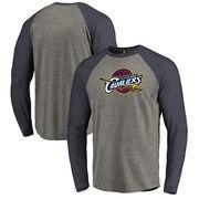 Cleveland Cavaliers Fanatics Branded Primary Logo Raglan Long Sleeve T-Shirt - Heathered Gray