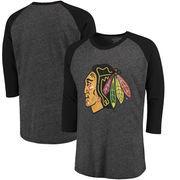 Chicago Blackhawks Majestic Threads Tri-Blend 3/4-Sleeve Raglan T-Shirt - Black