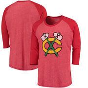 Chicago Blackhawks Majestic Threads Tri-Blend 3/4-Sleeve Raglan T-Shirt - Red