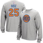 Derrick Rose New York Knicks adidas Name and Number Long Sleeve T-Shirt - Gray