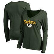 Green Bay Packers Women's Plus Sizes Freehand Long Sleeve T-Shirt - Green