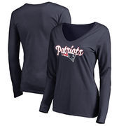 New England Patriots Women's Plus Sizes Freehand Long Sleeve T-Shirt - Navy