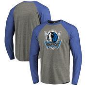 Dallas Mavericks Fanatics Branded Primary Logo Raglan Long Sleeve T-Shirt - Heathered Gray